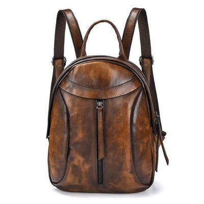 LOVIA Tan Genuine Leather Backpack - Coffee