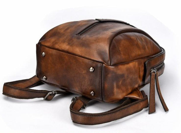 LOVIA Tan Genuine Leather Backpack
