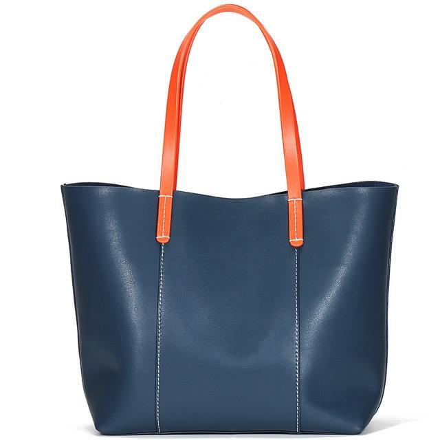 AMBYEA Genuine Leather Tote Handbag - blue