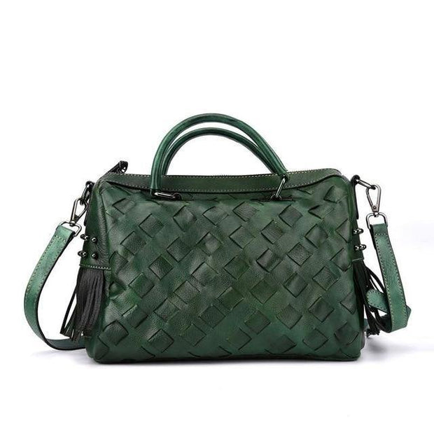 AMORA Genuine Leather Woven Handbag - green