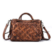 AMORA Genuine Leather Woven Handbag - deep brown