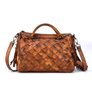 AMORA Genuine Leather Woven Handbag - brown