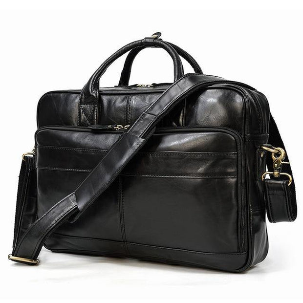 ULIEN Genuine Leather Briefcase - black