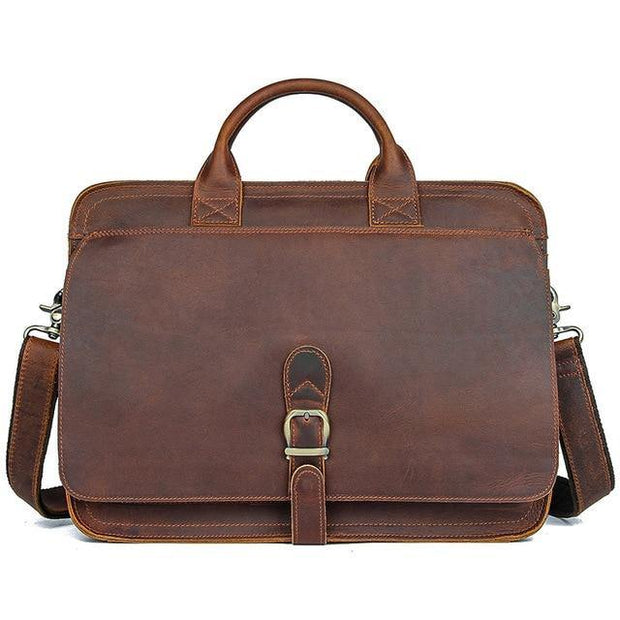 ETHIN Genuine Leather Briefcase - dark