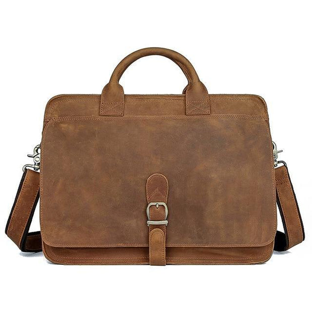 ETHIN Genuine Leather Briefcase - brown