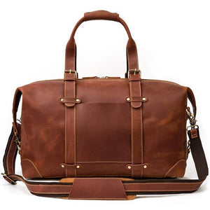Open image in slideshow, LEATHA Genuine Leather Travel Bag - brown