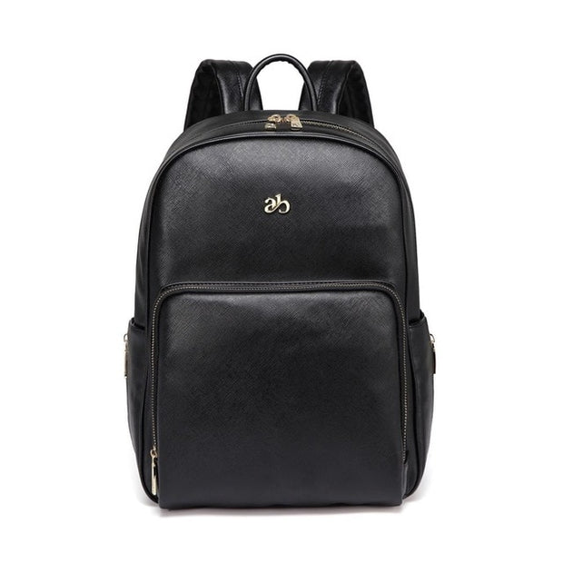 Genuine Leather Diaper Bag Backpack WESA - Black