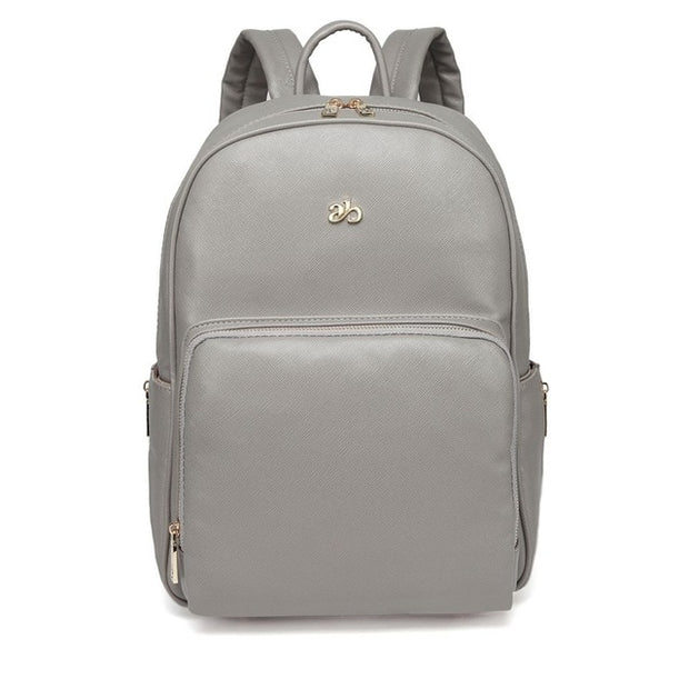 Genuine Leather Diaper Bag Backpack WESA - Grey
