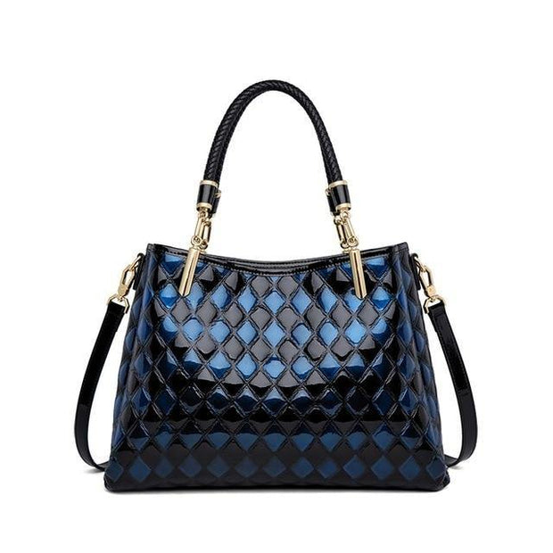 DARLA Genuine Leather Quilted Handbag - blue