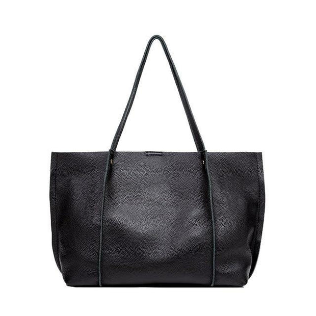 SHAYA Black Genuine Leather Tote Bag - VINNALEA