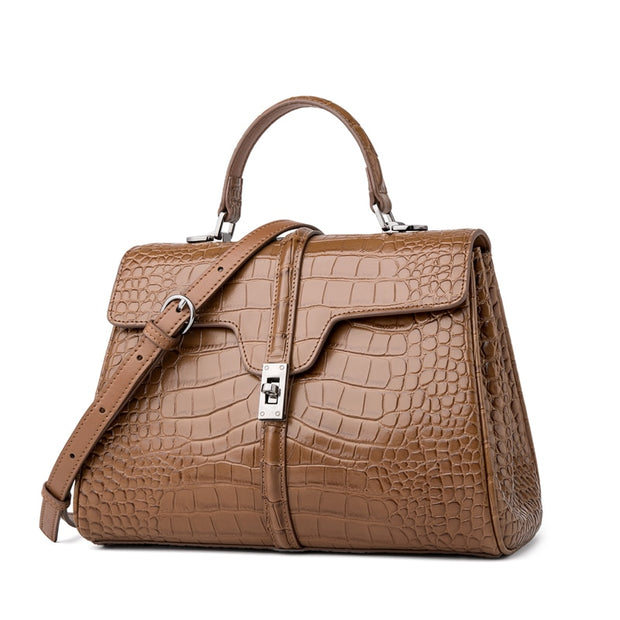 BEERA Brown Genuine Leather Handbag