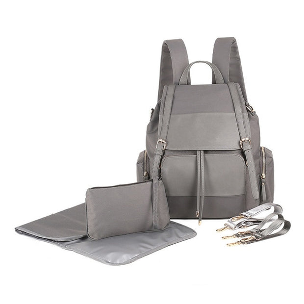 Genuine Leather Diaper Bag ANJIA - Gray
