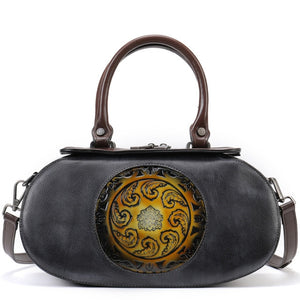 Open image in slideshow, NEMIA Genuine Leather Handbag - Gray
