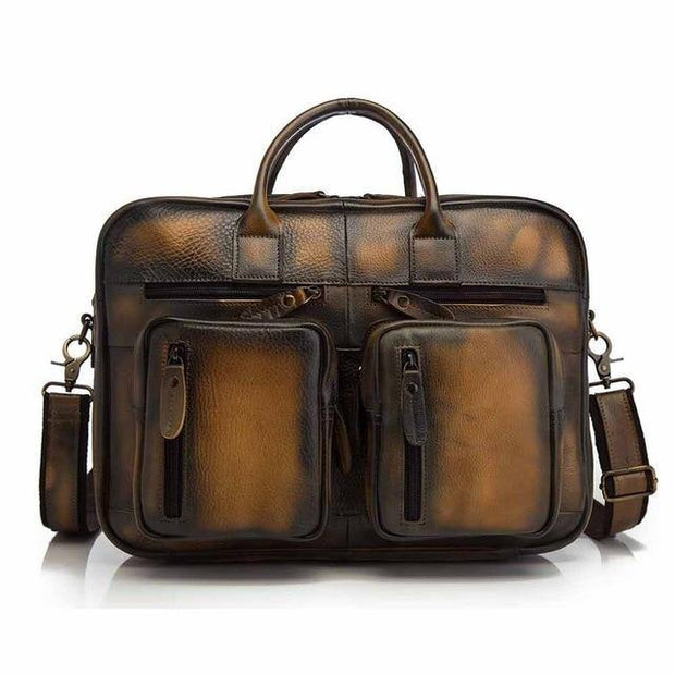DRECEN Genuine Leather Messenger Briefcase