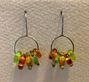 Large circle earrings (amber and olive)
