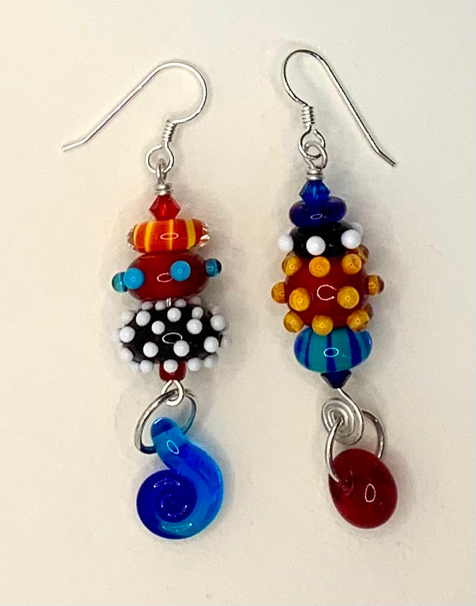 Large asymmetrical earrings (primary colors)