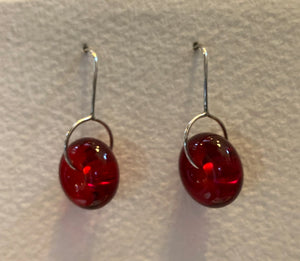 Circle earrings (red)