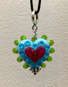 Heart pendant (turquoise pink and green)
