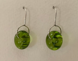 Circle earrings (olive green transparent)