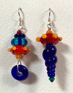 Asymmetrical earrings (multi with red/yellow dots)