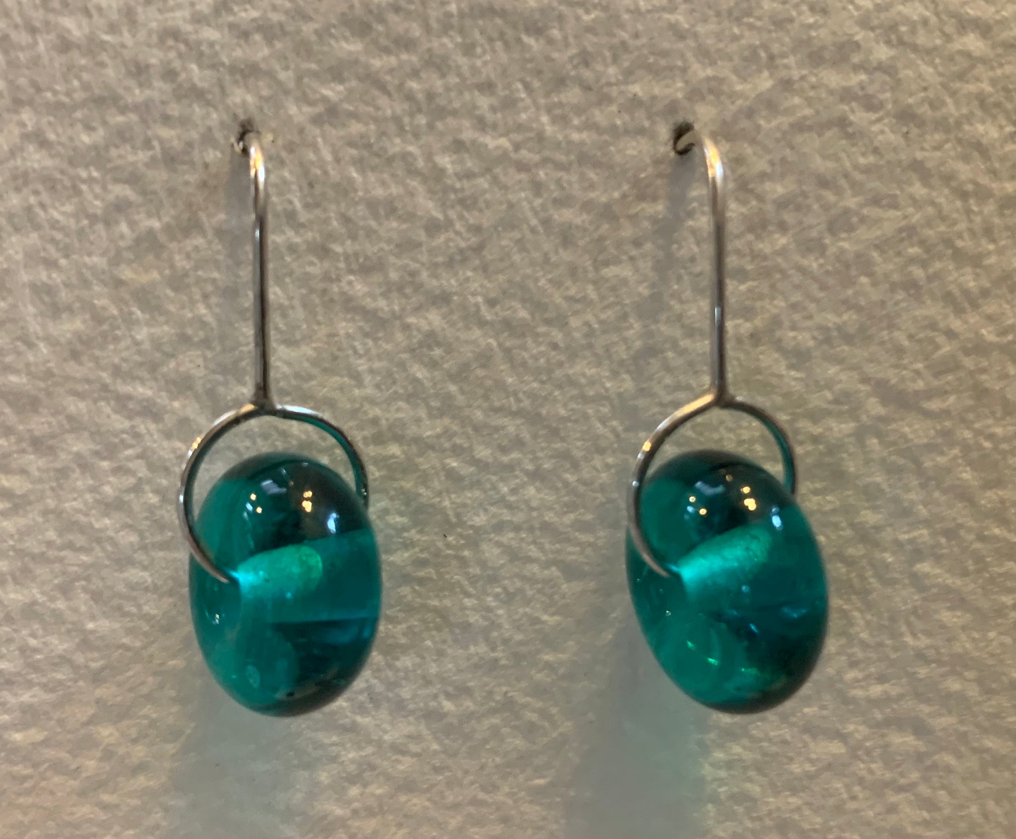 Circle earrings (teal)