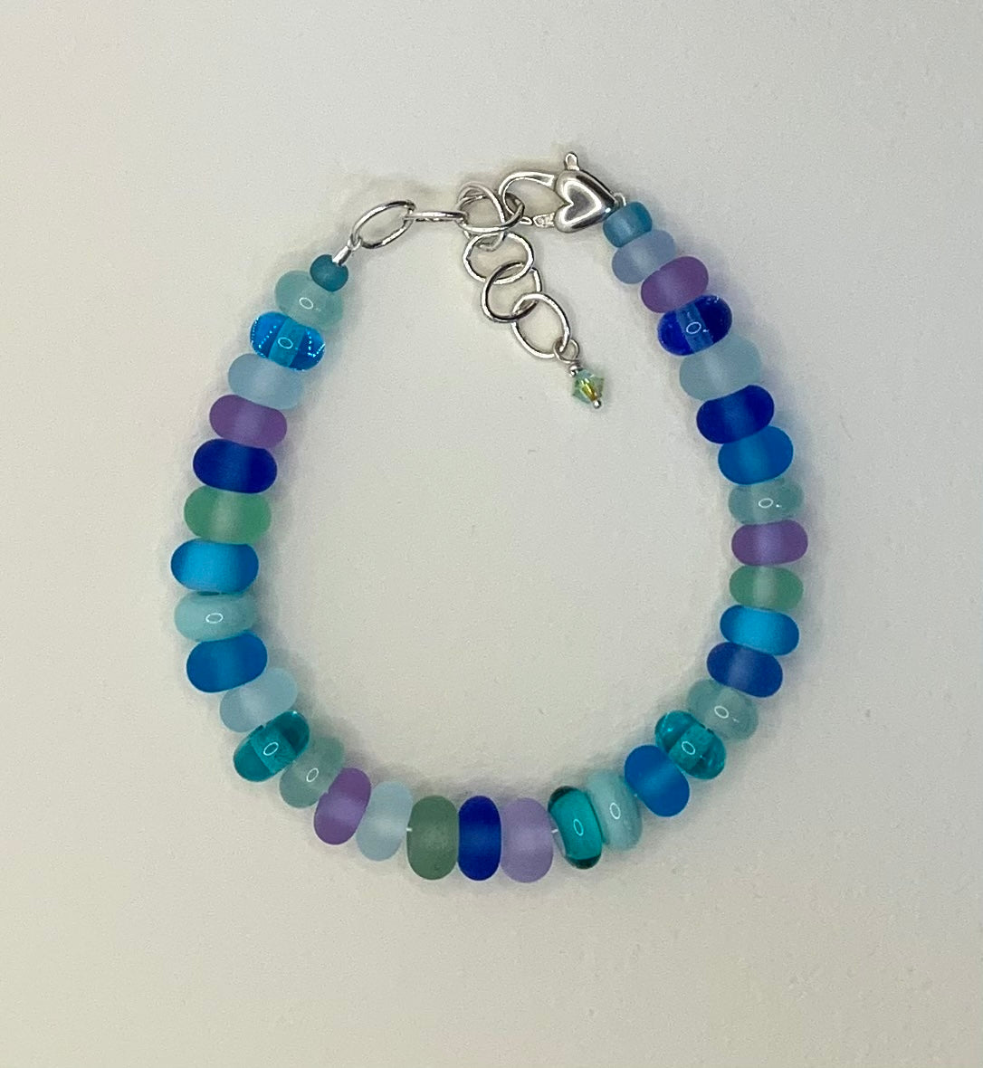 Bracelet (small etched light aqua, green, blue and lavender beads)