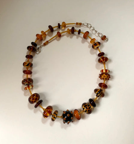 Amber brown necklace