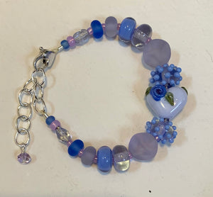 "Lavender bracelet with heart bead and silver heart clasp, 6 1/4""-8"""