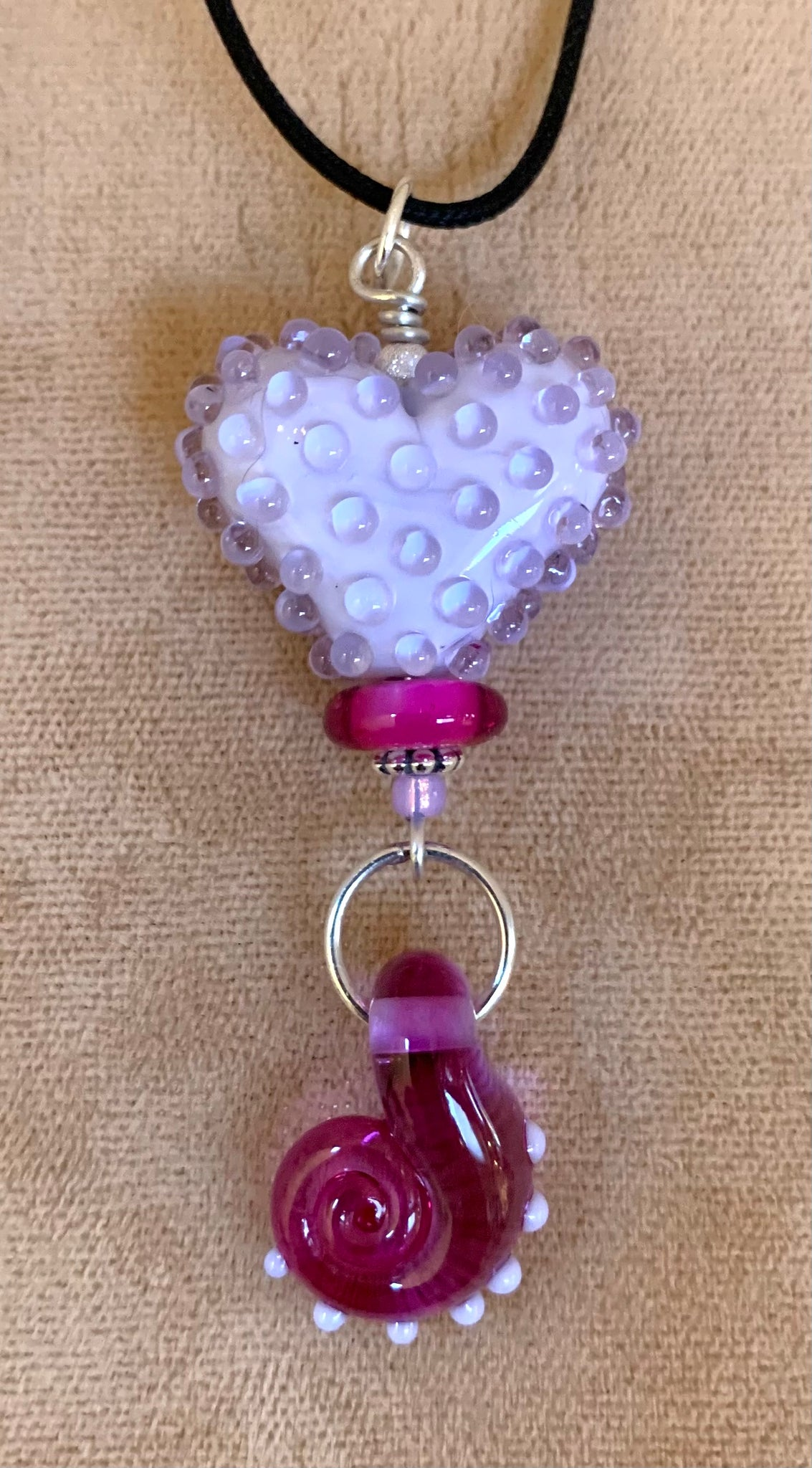 Lavender dotted heart pendant with pink spiral