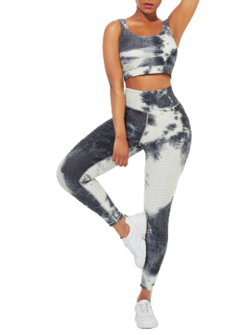 Tie-Dyed Print Yoga Suit Detachable Pads For Fitness