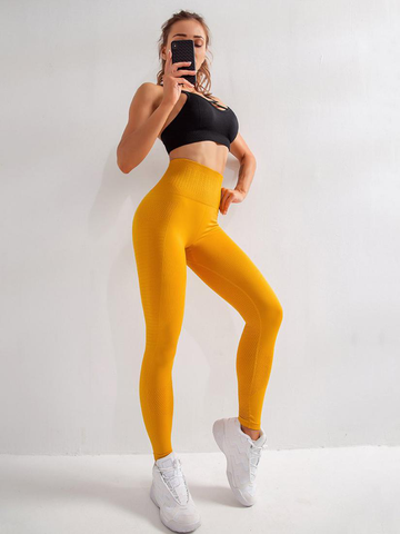 Moving Yellow Seamless High Waist Yoga Leggings Ladies