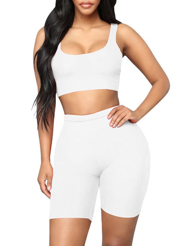 Gymnastic Cropped Sports Shorts Suit High Waist Mid Support