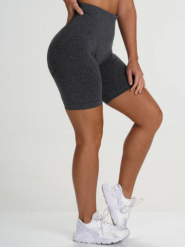 Sleek High Waist Gym Shorts Solid Color Women's Clothes