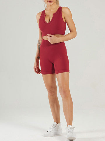 Seamless Yogawear Suit Low Neckline Sleeveless Workout Clothes