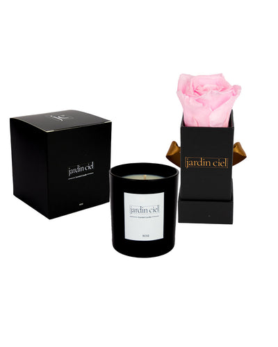 Giftset | Infinity Rosebox Baby Rose Pink + Candle - Jardin Ciel GmbH