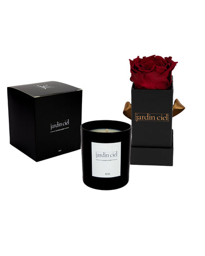 Giftset | Infinity Rosebox Baby Royal Red + Candle - Jardin Ciel GmbH