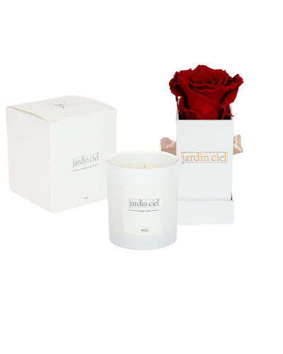 Giftset | Infinity Rosebox Baby Romantic Red + Candle - Jardin Ciel GmbH