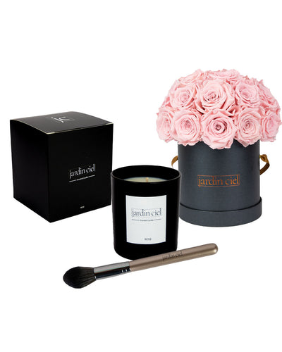 Giftset | Infinity Rosebouquet Large Bridal Pink + Candle + Infinity Brush - Jardin Ciel GmbH