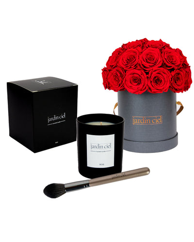Giftset | Infinity Rosebouquet Large Romantic Red + Candle + Infinity Brush - Jardin Ciel GmbH