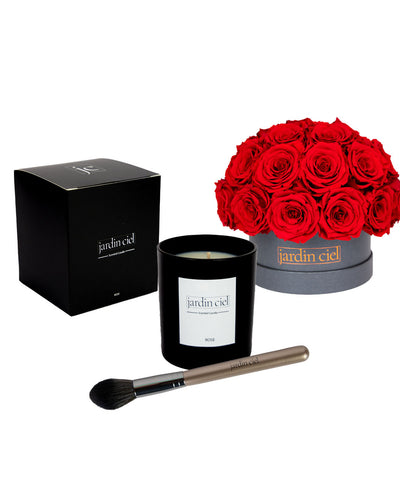Giftset | Infinity Rosebouquet Table Size Large Romantic Red  + Candle + Infinity Brush - Jardin Ciel GmbH