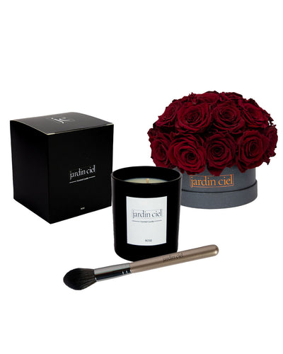 Giftset | Infinity Rosebouquet Table Size Large Royal Red  + Candle + Infinity Brush - Jardin Ciel GmbH