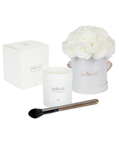 Giftset | Infinity Rosebouquet Large Pure White + Candle + Infinity Brush - Jardin Ciel GmbH