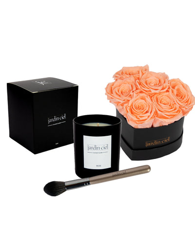 Giftset | Infinity Rosebox Heart Peach Gr. M + Candle+ Brush - Jardin Ciel GmbH