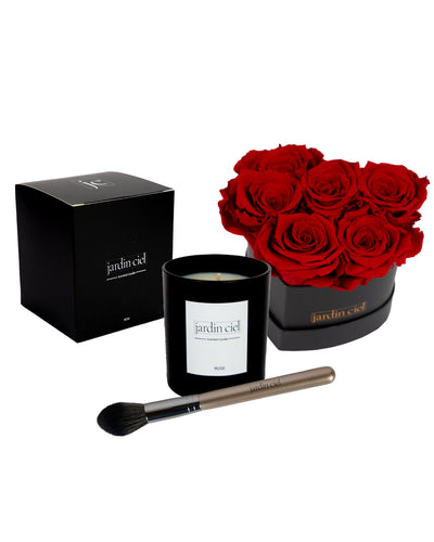 Giftset | Infinity Rosebox Heart Roya Red Gr. M + Candle+ Brush - Jardin Ciel GmbH