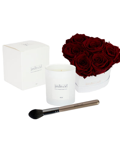 Giftset | Infinity Rosebox Heart Royal Red Gr. M + Candle+ Brush - Jardin Ciel GmbH