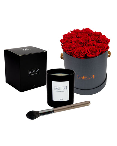 Giftset | Infinity Rosebox Gr. Large Romantic Red + Candle + Infinity Brush - Jardin Ciel GmbH