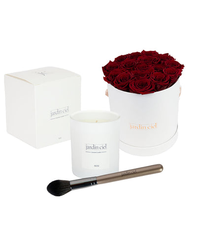Giftset | Infinity Rosebox Gr. Large Royal Red + Candle + Infinity Brush - Jardin Ciel GmbH