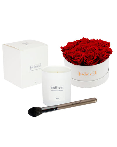 Giftset | Infinity Rosebox Table Size Gr. Large Romantic Red + Candle + Infinity Brush - Jardin Ciel GmbH