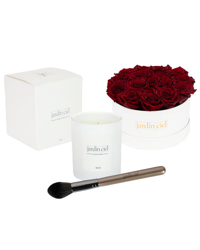 Giftset | Infinity Rosebox Table Size Gr. Large Royal Red + Candle + Infinity Brush - Jardin Ciel GmbH