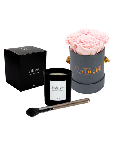 Giftset | Infinity Rosebox Bridal Pink Gr. Small + Candle + Infinity Brush - Jardin Ciel GmbH